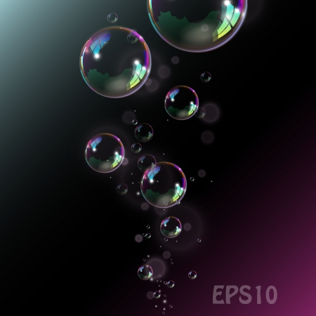 Soap bubbles on black background. Vector illustration. Vector