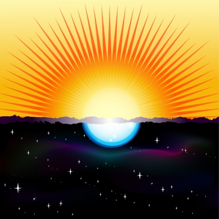Vector illustration of a split-screen showing the Sun and the Moon Vector