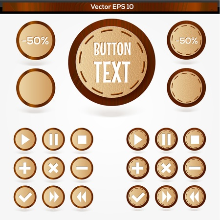 Set of round wooden media player buttons Stock Vector - 19613325