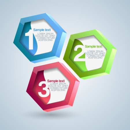 Hexagon numbered banners. Vector illustration. Vector