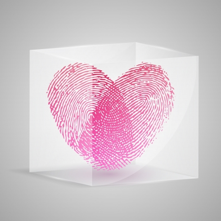 Fingerprint in the form of heart in glass box. Vector illustration. Vector