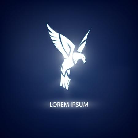 Eagle symbol on blue background for mascot or emblem design Illustration