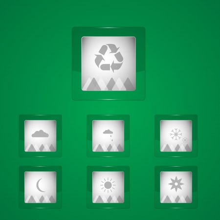 Vector Weather icons on green background Vector