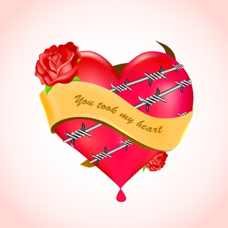 Bleeding heart with barbed wire and red roses. Vector. Vector