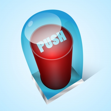 Vector push red button under glass Stock Vector - 19642963