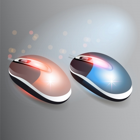 Red and blue wireless computer mouses Stock Vector - 19643252