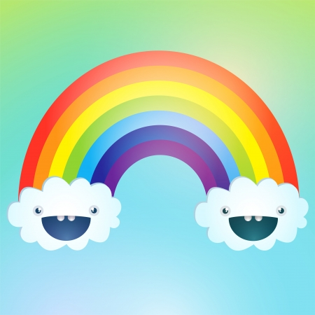 Vector symbol of rainbow and clouds in the sky Stock Vector - 19643464