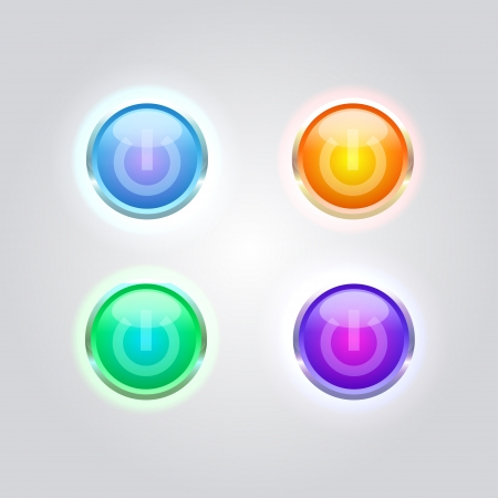 Vector set of glossy power buttons. Vector