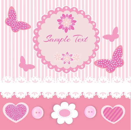 Pink frame with lace and butterflies Vector