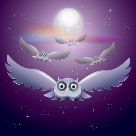 Vector illustration of flying owls in the night sky with moon Vector