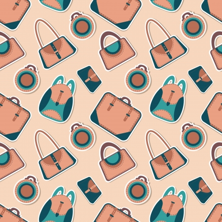 Cartoon woman's bag. Vector fashion bags seamless pattern Vector