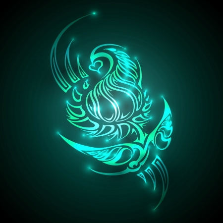 Neon colored ornament on dark background.Vector Illustration Vector