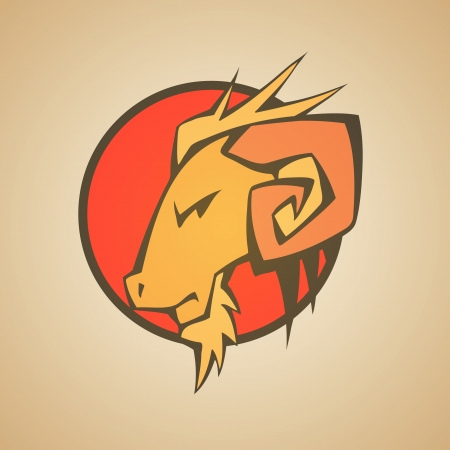 Ram Graphic Mascot Head with Horns. Vector Illustration Vector