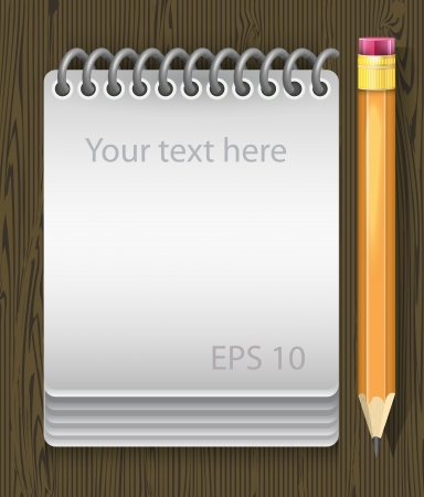 Vector illustration of notepad with pencil Vector