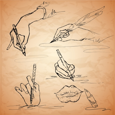 Vector illustrations of an hand writing with a feather pen, lips, lipstick Stock Vector - 19706459