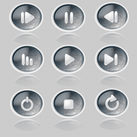 Media player buttons collection. Stock Vector - 19706457