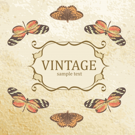 Vintage background with butterflies. Vector. Vector