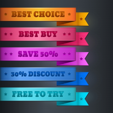 Colorful ribbon promotional products design Vector