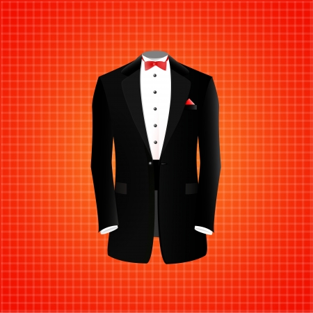 Black suit on red backgroud, vector illustration Vector