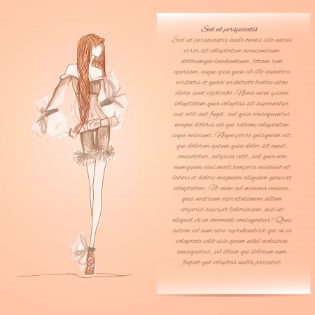 Fashion model. Sketch. Fashion background illustration. Vector Vector