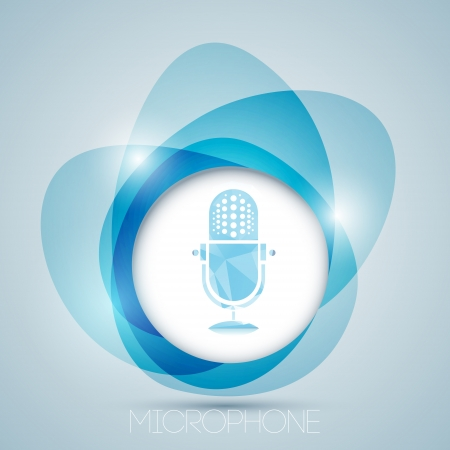 Vector icon with vintage microphone. Vector