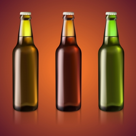 Three bottles of beer, vector illustration Stock Vector - 19706359