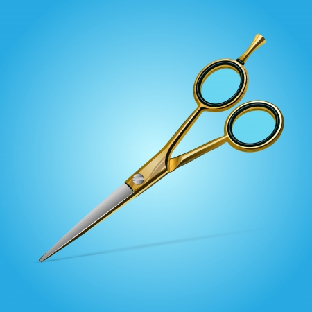 Golden scissors. Vector illustration Vector