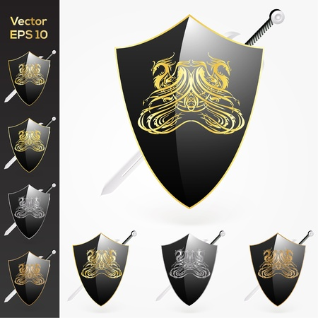 Axe and shield collection Vector