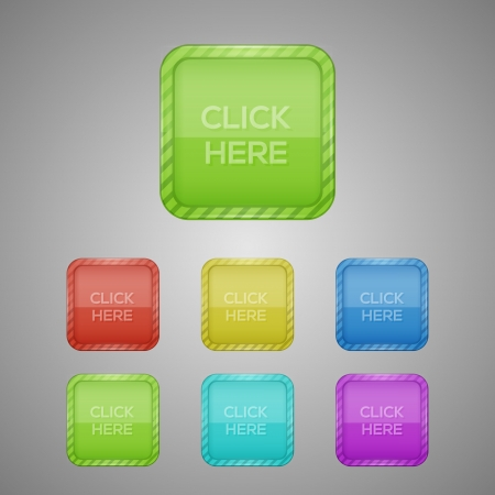 Set of colorful buttons. Vector Illustration Vector