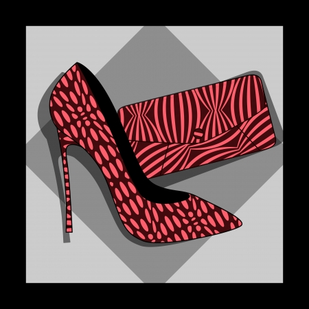 Fashion shoes and bag, vector Vector