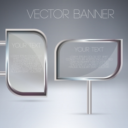 Vector transparent glass banners. Vector