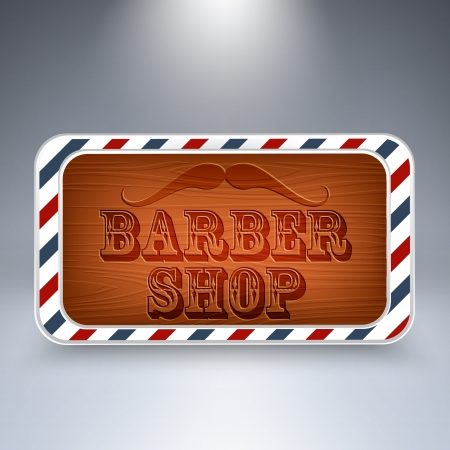 Wooden board for Barber Shop. Vector
