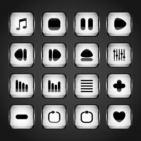 Media buttons, vector Stock Vector - 19706546