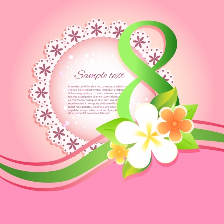 Womens day vector greeting card with flowers Vector