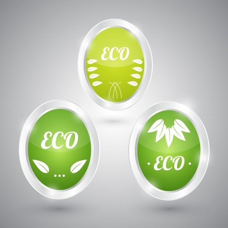 Set of green round signs. Eco, green and natural Stock Vector - 19706575