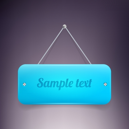 Glassy blue banner on wall Vector