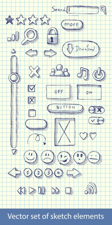 illustration set of hand drawn web icons Vector