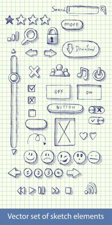 illustration set of hand drawn web icons