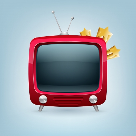 red retro tv set. Vector