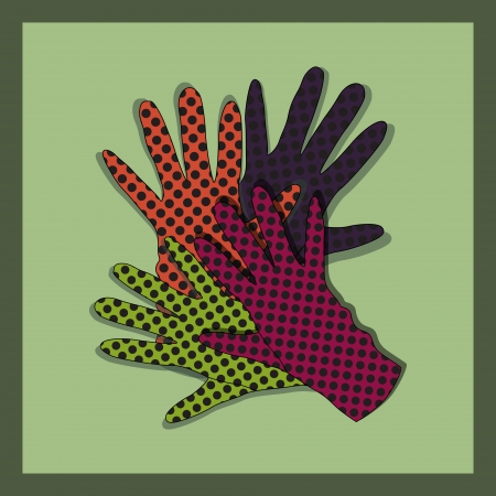 background with gloves. Vector