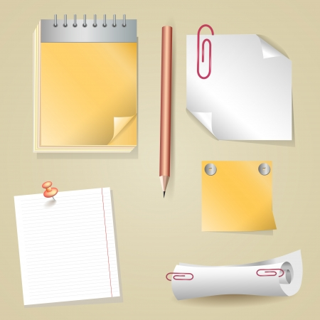 Illustration of pencil, sticker, scroll, notepad Vector