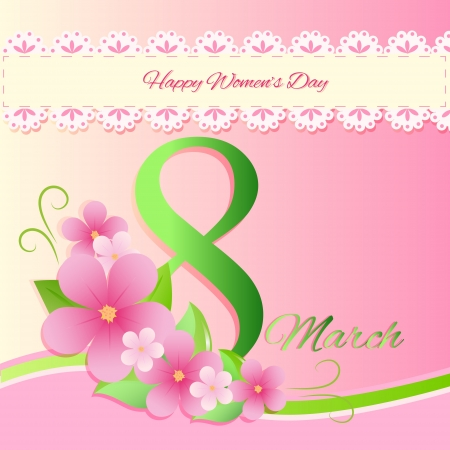 Women day greeting card with flowers Vector