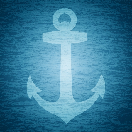 illustration of anchor on sea background Vector