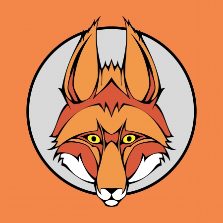 illustration of a fox head snapping set inside circle. Vector