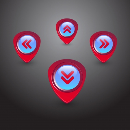 Navigator arrows icons set, round symbols collection. Vector