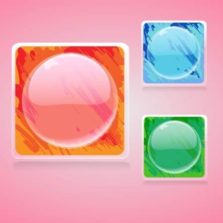 Web shiny buttons illustration. Vector