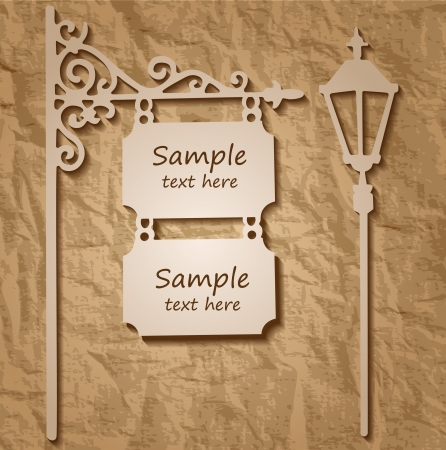 Wooden sign on pole with streetlight Vector
