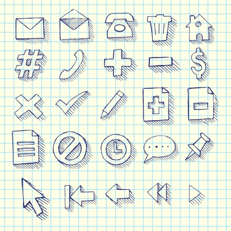 Sketchy Doodle Web Computer Icon Set - Back to School Style Notebook Doodles Illustration Design Elements Vector
