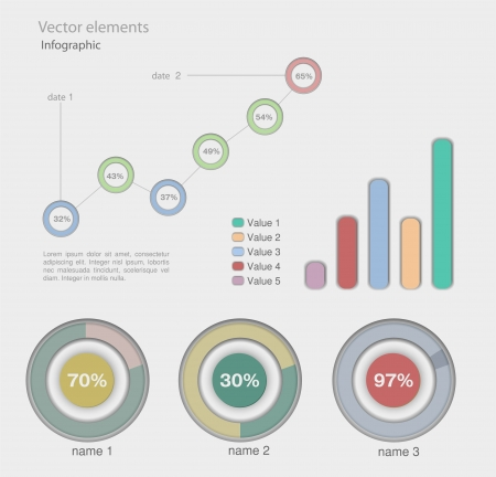 Infographic Graphs and Elements. Vector
