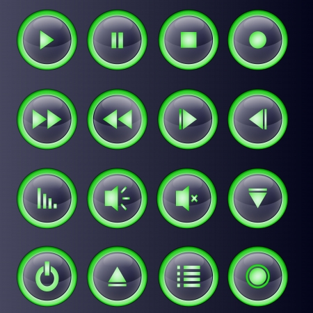Media player buttons collection. Vector